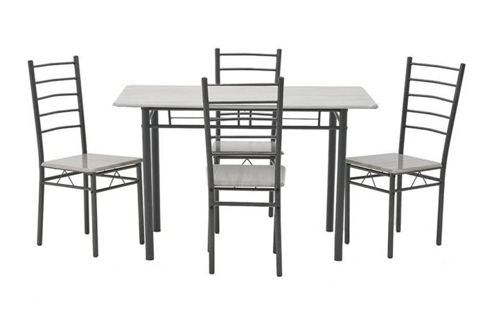 ΤΡΑΠΕΖΑΡΙΑ CLARA ΣΕΤ 5τεμ ΞΥΛΟ / ΜΕΤΑΛΛΟ ΑΝΘΡΑΚΙ / ΓΚΡΙ 120x68x75cm